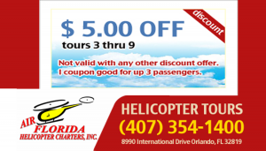 Helicopter Tours of Orlando, Florida on International Drive only a 1/2 mile north of the Orange Count Convention Center.