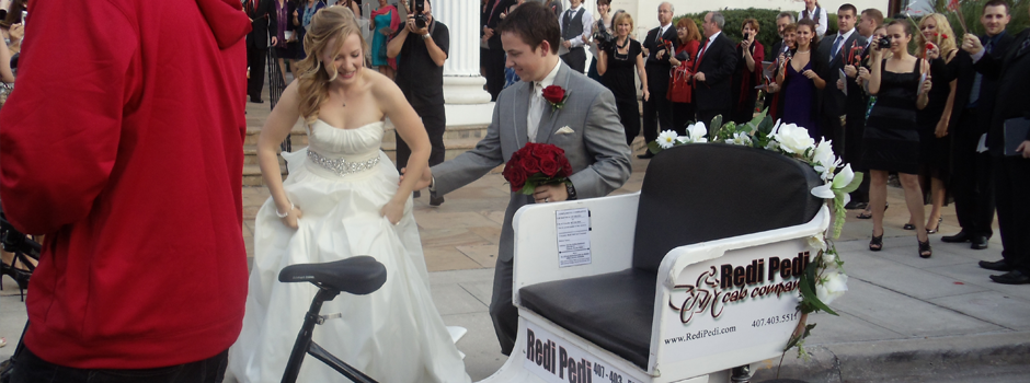 Redi Pedi Pedicabs are used in Weddings for the bride and groom through out Florida.