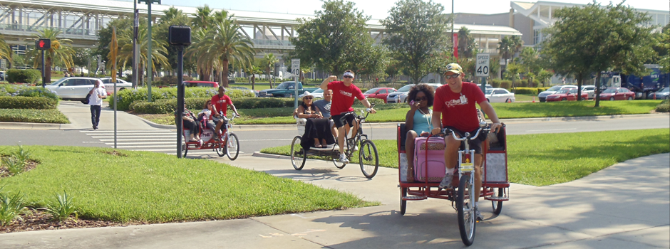 Redi Pedi Pedicabs on by the Orange County Convention Center on International Drive in Orlando, Florida.