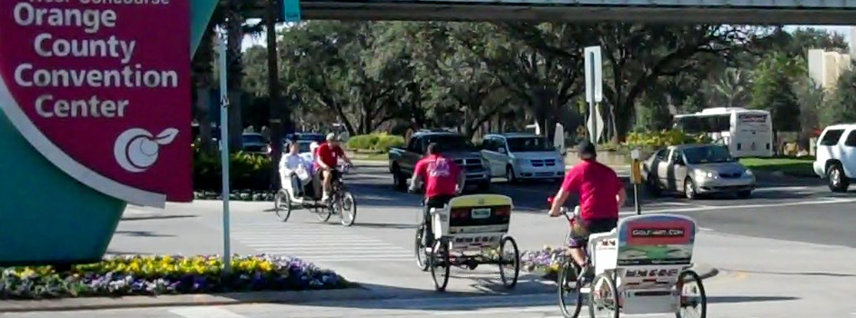 Redi Pedi Pedicabs, a.k.a. rickshaws and bicycle taxis, operate daily at the Orange County Convention Center in Orlando, Florida.