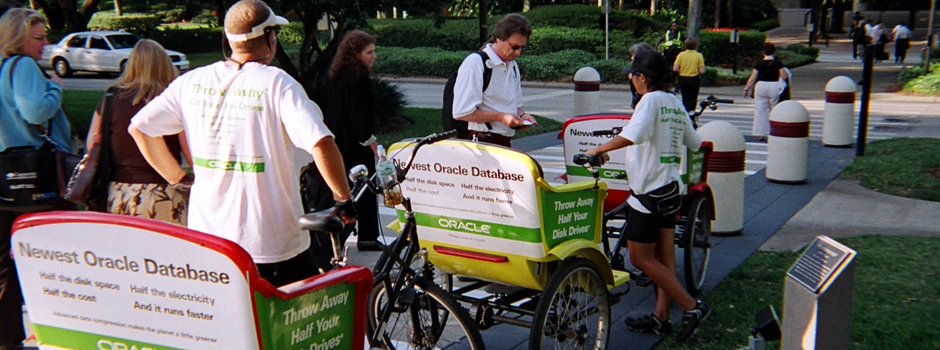 Oracle pedicabs at the 2008 SAPPHIRE NOW Convention in Orlando, Florida.