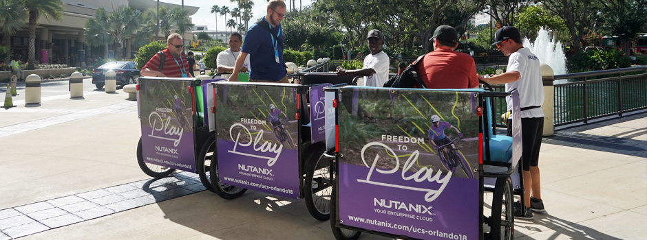 Nutanix Pedicabs at Cisco Live at Orange County Convention Center.