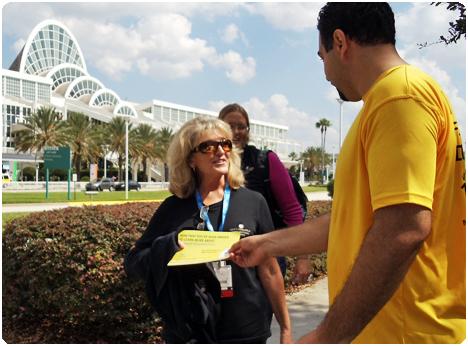 Redi Pedi pedicabs drivers can also distribute brochures, business cards, or any other promotional items to convention attendees while offer pedicab rides and waiting for passengers at the Orange County Convention Center and along International Drive.