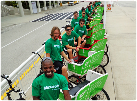 Be the exhibitor to sponsor an entire fleet of Redi Pedi pedicabs at the next convention in Orlando, Florida and see your branding, messaging, and marketing value sky rocket when the best part of the event are the sponsored free rides! Hey, you doesn't like a free ride?
