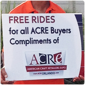 Pedicab Rides: Redi Pedi pedicab drivers can offer free pedicab rides compliments of our sponsor at events or for our normal daily operations. ACRE offered their attendees free rides to and from their cars at the Orange County Convention Center.