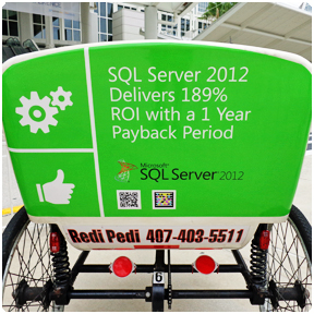 Back Display Panel: Advertising space is available on the back display panel of the pedicab. Microsoft SQL Server 2012 sponsored a team of Redi Pedi pedicabs during the 2012 SAPPHIRE NOW and ASUG Annual Conference.