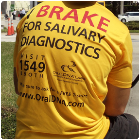 Driver Shirts and Hats: Pedicab drivers can wear sponsors shirts or hats.  Oral DNA used this ad space to promote their booth number during the ADA Annual Session in Orlando, Florida.