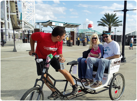 Redi Pedi Pedicabs operate in Jacksonville, Florida for the Jaguar NFL games and the Florida/Georgia game.