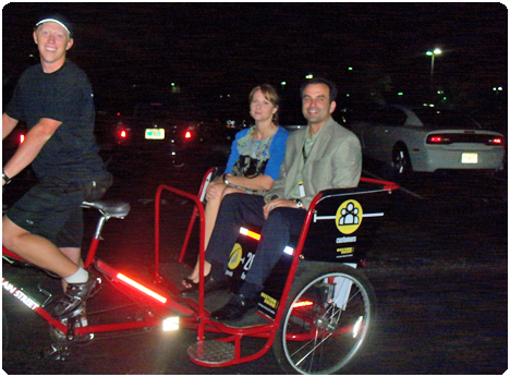 Redi Pedi pedicabs are used for corporate events at hotels like the Ritz Carlton and JW Marriott Hotels in Orlando, Florida.