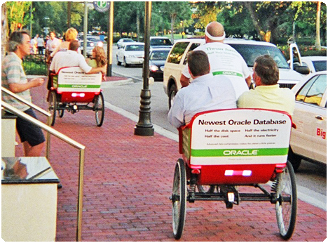 Redi Pedi pedicabs operate at the Orange County Convention Center during the day and on International Drive at night. Double your marketing value as your brand is exposed when attendees are taking care of business during the day and enjoying themselves at night.
