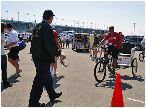 The races at the Daytona International Speedway attract thousands of fans every event and Redi Pedi pedicabs are there in the action helping them get around.