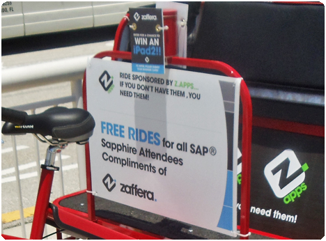 Redi Pedi pedicabs can offer free rides compliments of our sponsor and collect business cards for our sponsor, too. Kill two birds with one stone; offer a freebie and collect information! As seen in this picture, when Zaffera was offer SAP attendees free rides and collecting business cards for an Ipad2 drawing.
