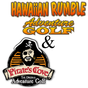 Encounter pirates and volcanoes in Orlando, Florida! Get ready to hit a hole in one at two of International Drive's best adventure golf locations, Pirates Cove and Hawaiian Rumble.  Play a round of miniature golf in Hawaiian volcanoes and the another among Pirates.