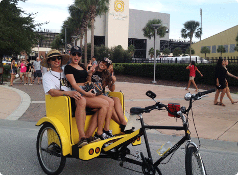 Advertising and sponsorship space is available via pedicabs at Brighthouse Stadium for UCF football games.