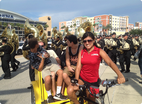 Redi Pedi Pedicabs operate at the University of Central Florida for UCF football games at Brighthouse Stadium. Advertising and Sponsorship space is available.